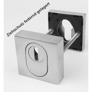 Edelstahl PZ- Schutzrosetten-Paar quadratisch für Haus und Wohnungstüren mit Zylinderabdeckung federnd gelagert
