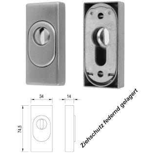 Edelstahl Schieberosette  rechteckig mit Zylinderabdeckung (Ziehschutz)