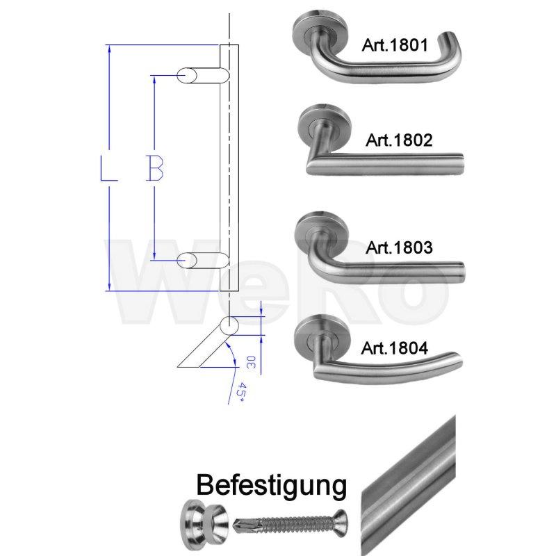 Rosetten Beschlag U-Form + PZ Schloss DIN Rechts + Profilzylinder BKS Zimmert/ür//Wohnungst/ür Komplett Set beidseitig Dr/ücker