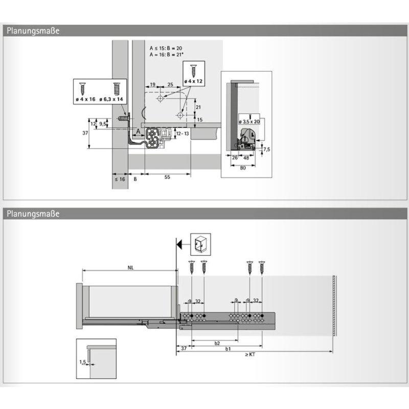 Hettich Vollauszug Quadro V6 mit Silent System f/ür Holzschubk/ästen NL 550mm