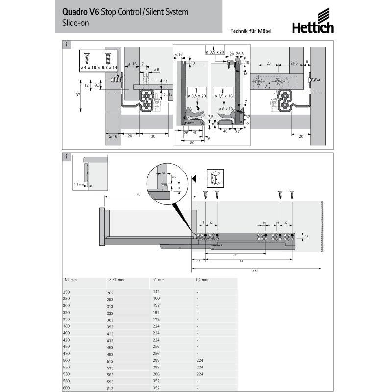 Hettich Vollauszug f/ür Holzschubk/ästen Quadro V6-045297 mit Softclose-Einzug im Set inklusive Schn/äpper und Euroschrauben NL= 600 mm WeRo-Set