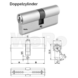 Doppelzylinder A:30mm B:30mm